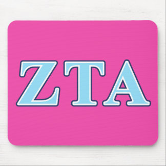 Zeta Tau Alpha Navy Blue and Baby Blue Letters Mouse Pad