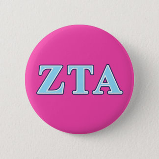Zeta Tau Alpha Navy Blue and Baby Blue Letters Pinback Button