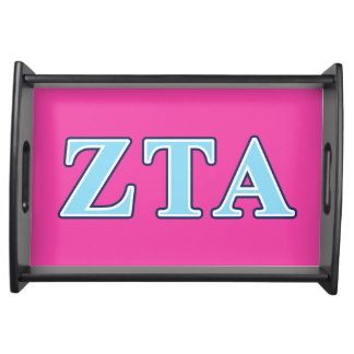 Zeta Tau Alpha Navy Blue and Baby Blue Letters Food Trays