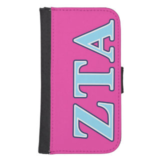 Zeta Tau Alpha Navy Blue and Baby Blue Letters Phone Wallet Cases
