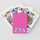 Zeta Tau Alpha Navy Blue and Baby Blue Letters Bicycle Playing Cards