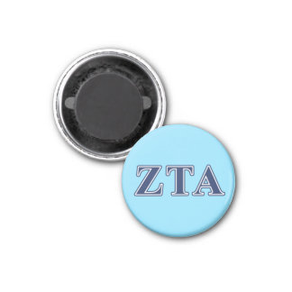 Zeta Tau Alpha Navy Letters 1 Inch Round Magnet