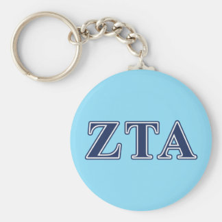 Zeta Tau Alpha Navy Letters Basic Round Button Keychain
