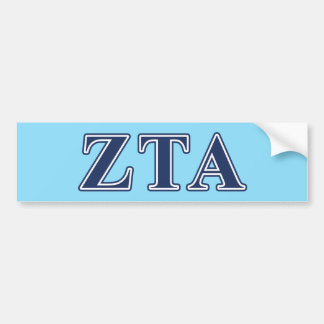 Zeta Tau Alpha Navy Letters Bumper Sticker