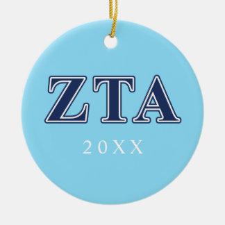 Zeta Tau Alpha Navy Letters Ceramic Ornament