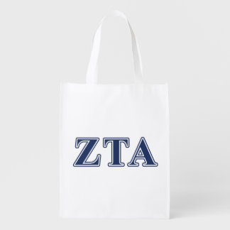 Zeta Tau Alpha Navy Letters Grocery Bags