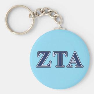 Zeta Tau Alpha Navy Letters Keychain