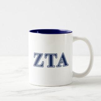 Zeta Tau Alpha Navy Letters Two-Tone Coffee Mug