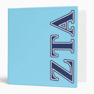 Zeta Tau Alpha Navy Letters Vinyl Binders
