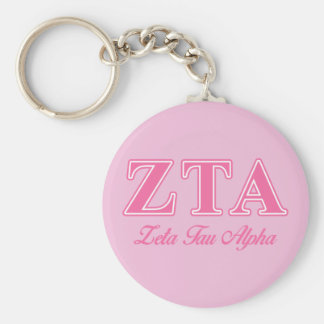 Zeta Tau Alpha Pink Letters Basic Round Button Keychain