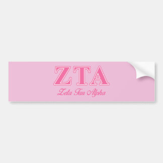 Zeta Tau Alpha Pink Letters Bumper Sticker