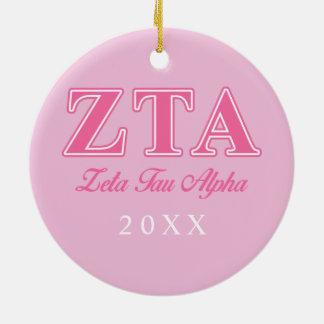 Zeta Tau Alpha Pink Letters Ceramic Ornament