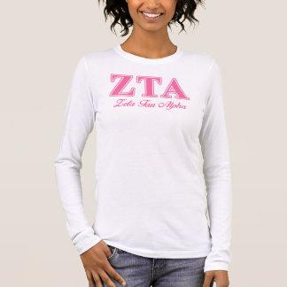 Zeta Tau Alpha Pink Letters Long Sleeve T-Shirt