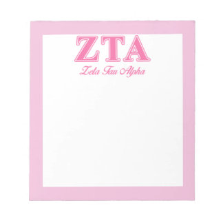 Zeta Tau Alpha Pink Letters Memo Note Pads