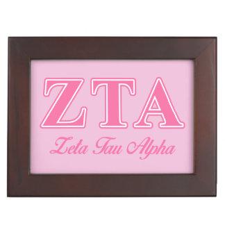 Zeta Tau Alpha Pink Letters Memory Boxes