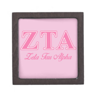 Zeta Tau Alpha Pink Letters Premium Gift Boxes