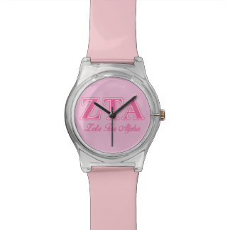 Zeta Tau Alpha Pink Letters Wrist Watches