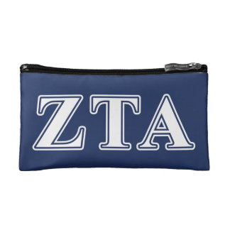 Zeta Tau Alpha White and Navy Blue Letters Makeup Bag