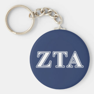 Zeta Tau Alpha White and Navy Blue Letters Basic Round Button Keychain