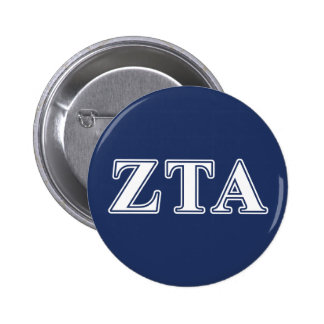Zeta Tau Alpha White and Navy Blue Letters Button