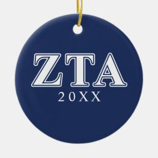 Zeta Tau Alpha White and Navy Blue Letters Ceramic Ornament