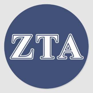 Zeta Tau Alpha White and Navy Blue Letters Classic Round Sticker