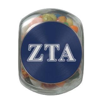 Zeta Tau Alpha White and Navy Blue Letters Glass Jars