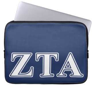 Zeta Tau Alpha White and Navy Blue Letters Laptop Sleeves