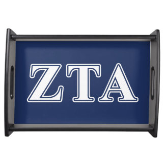 Zeta Tau Alpha White and Navy Blue Letters Service Trays
