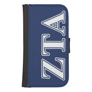 Zeta Tau Alpha White and Navy Blue Letters Phone Wallets