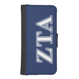 Zeta Tau Alpha White and Navy Blue Letters iPhone 5 Wallets