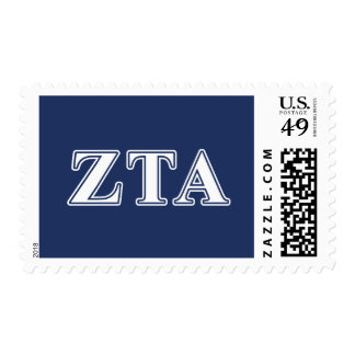 Zeta Tau Alpha White and Navy Blue Letters Postage