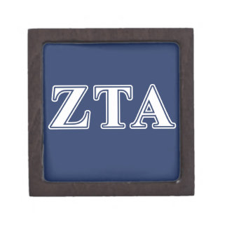 Zeta Tau Alpha White and Navy Blue Letters Premium Gift Boxes