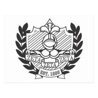 Zeta Zeta Zeta Fraternity Crest - B&W Postcard