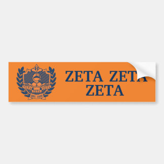 Zeta Zeta Zeta Fraternity Crest - Navy/Orange Bumper Sticker