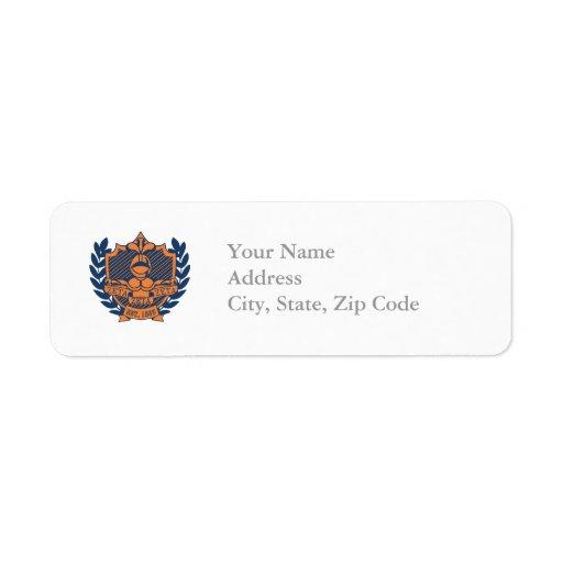 Zeta Zeta Zeta Fraternity Crest - Navy/Orange Return Address Labels