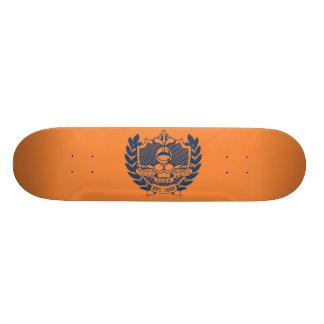 Zeta Zeta Zeta Fraternity Crest - Navy/Orange Skate Boards