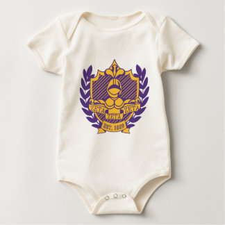 Zeta Zeta Zeta Fraternity Crest - Purple/Gold Baby Bodysuit