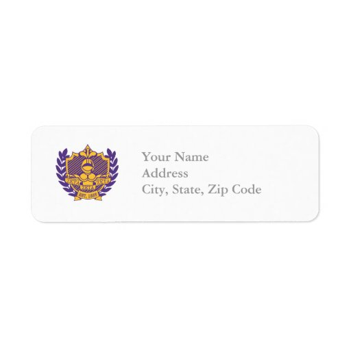 Zeta Zeta Zeta Fraternity Crest - Purple/Gold Return Address Labels
