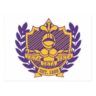 Zeta Zeta Zeta Fraternity Crest - Purple/Gold Postcard