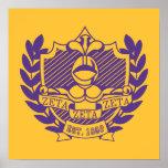 Zeta Zeta Zeta Fraternity Crest - Purple/Gold Print