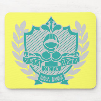 Zeta Zeta Zeta Fraternity Crest - Teal/Grey Mouse Pad