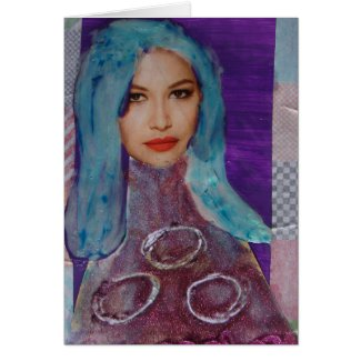 Zetti Girl, The Blue Haired Girl, Birthday Card