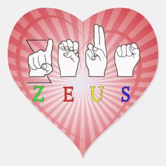 ZEUS ASL FINGERSPELLED MALE NAME HEART STICKER