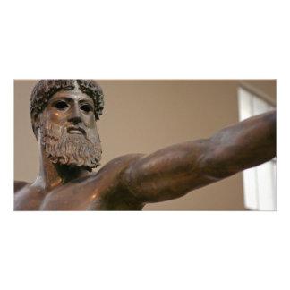 Zeus bronze statue in Athens Greece Custom Photo Card