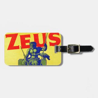 Zeus - diseño del poster del vintage etiquetas maletas