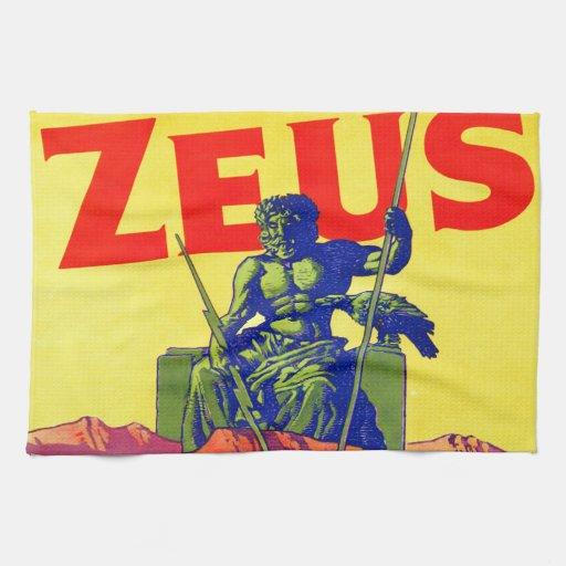 Zeus - diseño del poster del vintage toalla de mano