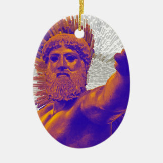 Zeus  - Jupiter Double-Sided Oval Ceramic Christmas Ornament
