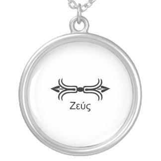 Zeus lightning bolt (Greek Font) Silver Plated Necklace