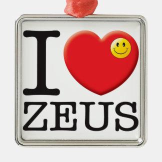Zeus Love Square Metal Christmas Ornament